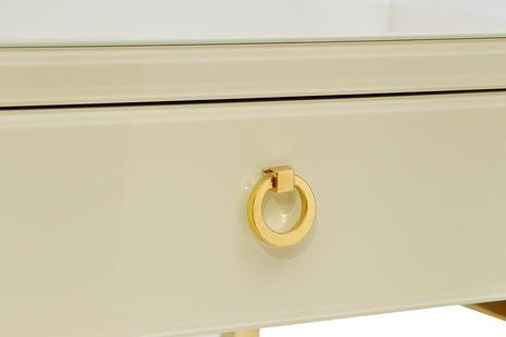 Тумбочка с выдвижным ящиком и стеклянными панелями бежевая