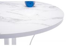 Стеклянный стол Нейтон белый мрамор / белый