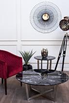 Стол журнальный черный (искусственный мрамор)