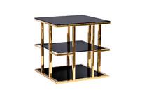 Стол журнальный с черным стеклом (золотой)