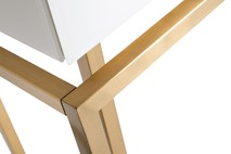 Консоль с ящиками белое стекло/матовое золото