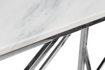 Консоль искусственный белый мрамор/темный хром