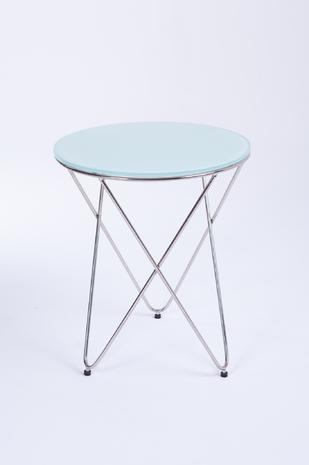 Стол журнальный металлический со стеклянной столешницей