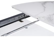 Стеклянный стол Венера белый мрамор / графит
