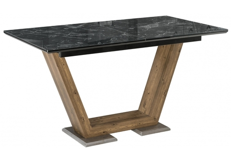 Стол на тумбе Иматра мрамор черный / черная шагрень