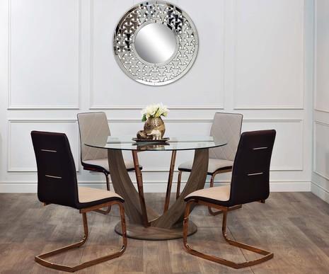 Стол обеденный со стеклом круглый 30F-908