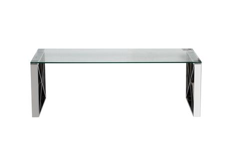 Стол журнальный с прозрачным стеклом (цвет хром)