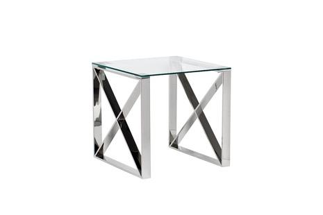 Столик журнальный квадратный с прозрачным стеклом (цвет хром)