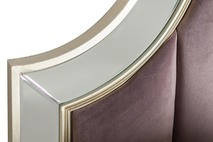 Кровать двуспальная с зеркальными вставками (розово-серая) KFE007-69
