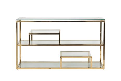 Консоль прозрачное стекло/золото