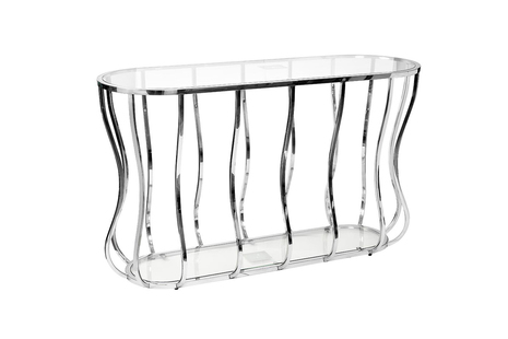 Консоль прозрачное стекло/хром