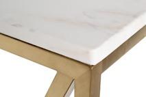 Консоль искусственный белый мрамор Pearl White/матовое золото