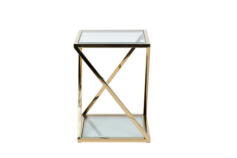 Набор из 3-х журнальных столов (прозр.стекло/золото)