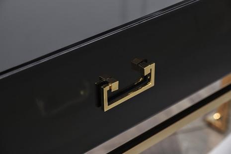 Консоль с ящиками черное стекло/золото