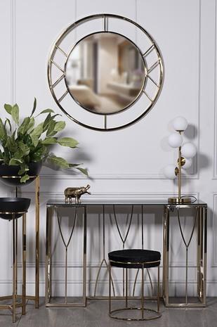 Зеркало круглое в металлической раме (золото) KFG082