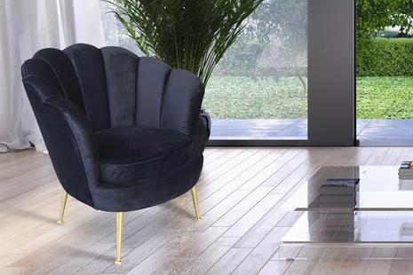 Кресло велюровое черное