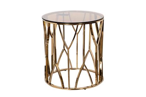 Столик журнальный с коричневым стеклом (золото) 13RXET3103/1-GOLD