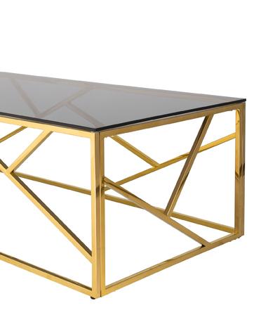 Журнальный стол 120*60 АРТ ДЕКО стекло smoke сталь золото