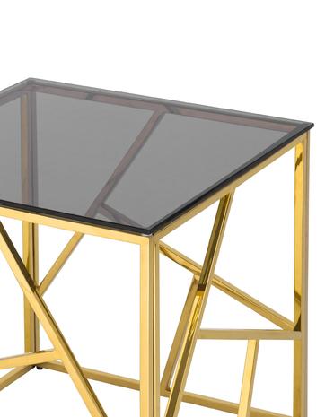 Журнальный столик 55*55 АРТ ДЕКО золото стекло smoke